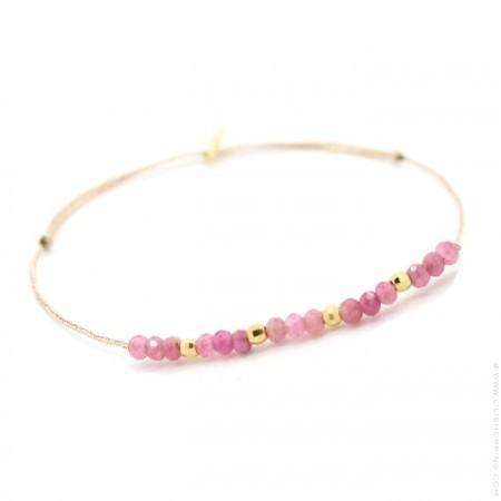Bracelet Jade tourmaline rose et perles plaquées or sur lien lurex