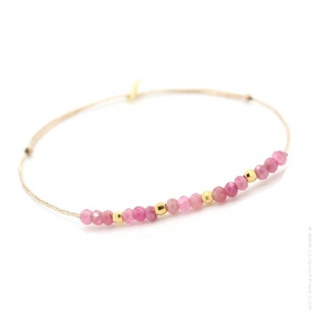 Jade pink tourmaline and gold plated nuggets on a lurex Bracelet