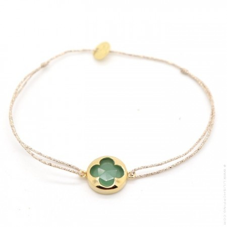 Gold plated aventurine on a lurex Bracelet