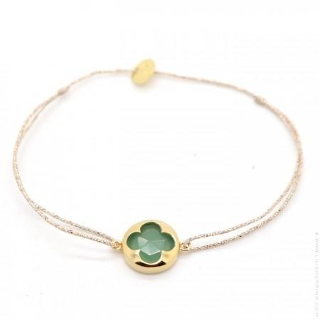 Bracelet turquoises et perles plaquées or sur lien lurex