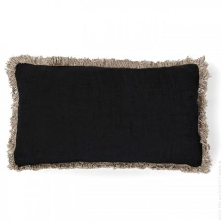 Housse de coussin en lin noir à franges