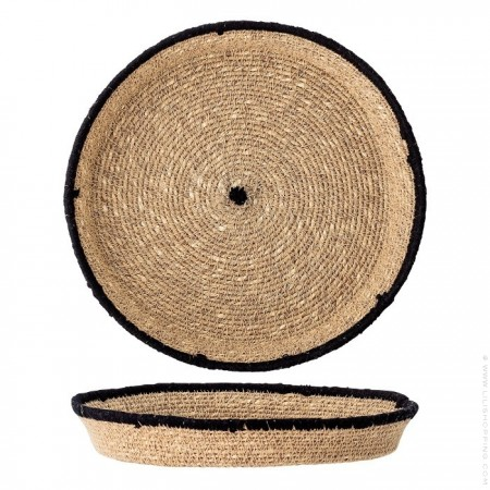 Seagrass basket with embroidery