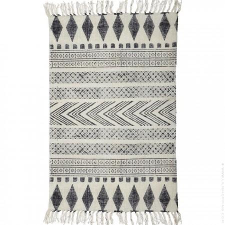 Tapis coton gris noir Block