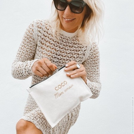 gold embroidered pouch