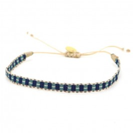 Bracelet Argentinas bleu, taupe et vert canard