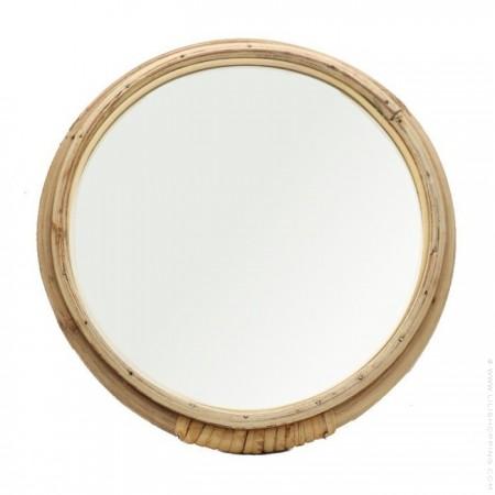 Small rattan wrapped round mirror