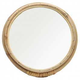 Large rattan wrapped round mirror