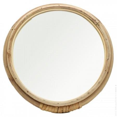 Miroir rond rotin
