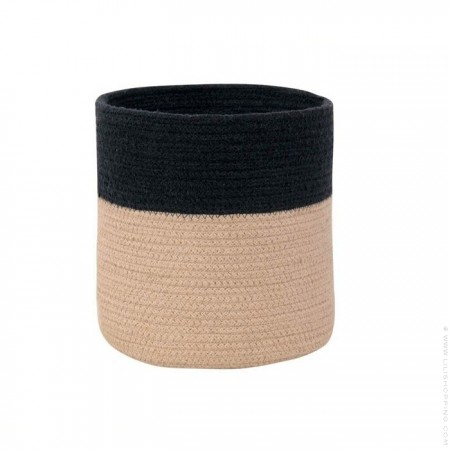 Natural and black woven cotton basket
