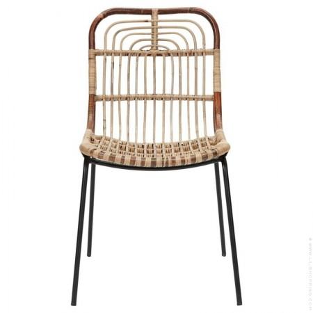 Chaise en métal et rotin Kawa