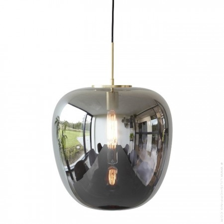 Suspension en verre fumé miroir et laiton 40 cm
