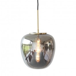Brushed brass smoked glass 30 cm suspension