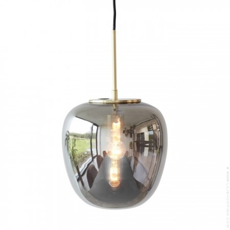Brushed brass smoked glass 40 cm suspension