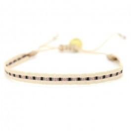 Bracelet Argentinas beige, noir et or rose