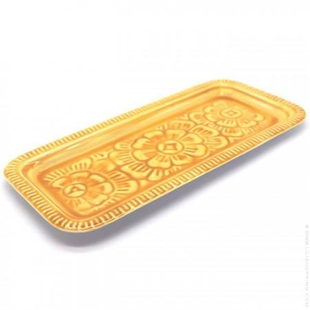 Plateau berbère rectangle émaillé moutarde