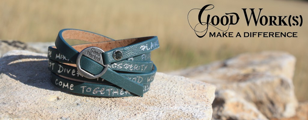 Good Works make a difference leather bracelet